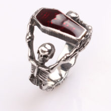 Personalized Red Crystal Coffin Skull Ring