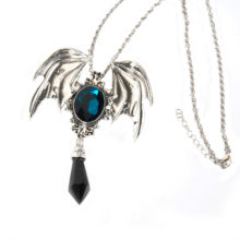 Blue And Black Crystal Vampire Bat Pendant Necklace