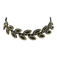 Velvet Gothic Black Indian Gold-Color Bead Leaf Choker Necklace