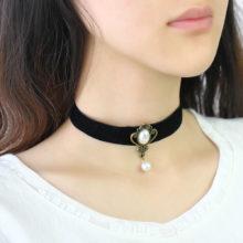 Royal Black Lace Rose Bead Bridal Choker Necklace & Pendant
