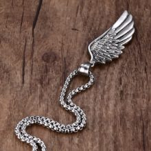 Stainless Steel Gothic Feather Angel Wing Pendant Necklace