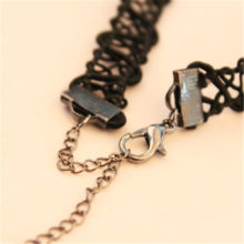 Gothic Stretch Tattoo Hand Woven Lace Choker Necklace With Pendants