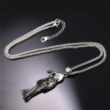 Grim Reaper Charm Pendant Stainless Steel/Gold Color Necklace