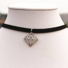 Dimensional Diamond Black Leather Velvet Chain Choker Necklace