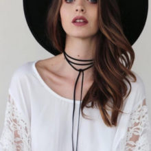 Gothic Velvet Circular Tube Long Black Choker Collar Necklace