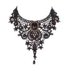 Gothic Retro Vintage Lace Necklace Choker Necklace With Black Gem