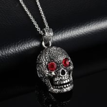 Gothic Stainless Steel Skull Pendant Necklace With Red Cubic Zirconia Eyes