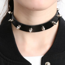 1PC Punk Rock Gothic Unisex Leather Silver Spike Choker Necklace