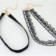 2 Pcs set Retro Black Gothic Lace Velvet Strip Choker Necklace