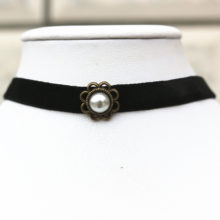 Retro Collar Choker Gothic Necklace With Simulated Pearl
