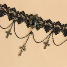 Gothic Choker Lace Necklace & Triple Cross Pendant