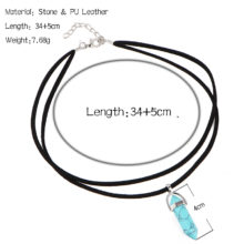 Black Leather Tattoo Choker Necklace Big Stone Beads Pendant for Women