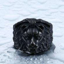 Biker Gothic Lion Head Black Ring High Quality