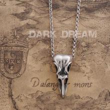 Titanium Steel Crow Raven Skull Necklace Pendant