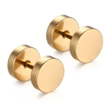 Punk Gothic Barbell Round Bolt Stud Earrings
