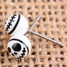 Gothic Punk Round White & Black Skull Stud Earrings