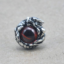 Gothic Dragon Sterling Silver Stud Earring With Garnet Natural Stone