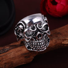 Gothic Skull Flower Biker Silver Zinc Alloy Ring