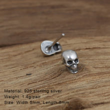 Gothic Sterling Silver Smooth Skull Stud Earings