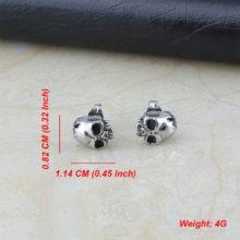 Gothic Stainless Steel Silver Cheekbone Skull Stud Earrings