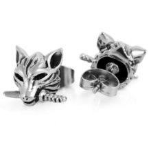 Wolf Gothic Stainless Steel Stud Earings