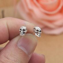Gothic Sterling Silver Skull Bar Earings
