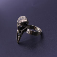 Gothic Bird Skull Crow Head Skeleton Ring
