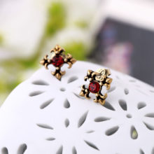 Elegant Red Glass Gothic Cross Earrings