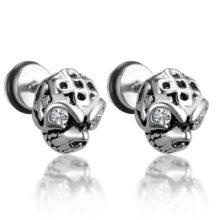 Stainless Steel Gothic Skull Rhinestone Stud Earings