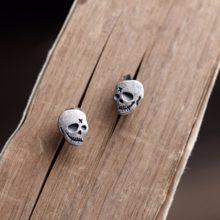 Gothic Punk Black Silver Skull Ghost Head Stud Earings