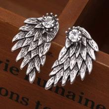 Gothic Angel Wings Stud Earings With Crystal Crown Gem