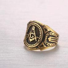 Gold Free Mason Masonic Black Brand Ring