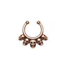 No Piercing Five Skull Septum Hanger Clip-On Nose Ring