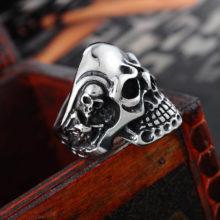 Vintage Punk 316L Stainless Steel Viking Skull Skeleton Ring