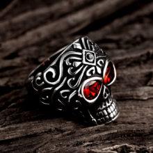 Tuker Punk Rock Stainless Steel Silver Color Red Eyes Skull Ring