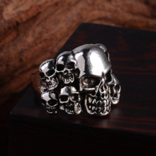 2017 Punk Vintage Gothic Men's Skull Flower Biker Zinc Alloy Ring