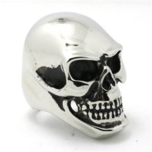 Punk Gothic Skull Silver Ring 316L Stainless Steel Mens Ring