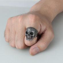 Stainless Steel Black Silver Gothic Punk Style Flower Skull Head Biker Ring