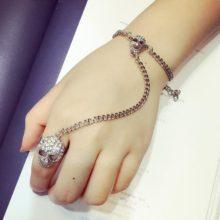 Silver Punk Rock Goth Skull Hand Bracelet With Crystal