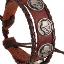 Punk Male Leather Goth Skull Bracelet