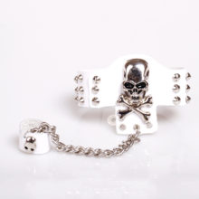 Stainless Steel Leather Punk Rock Goth Skull Bracelet