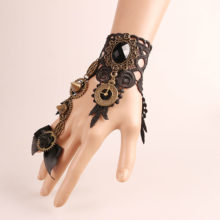 Goth Steampunk Gear Stud Victorian Lace Wrist Cuff Bow knot Bracelet