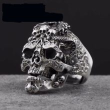 925 Sterling Silver Skull Biker Dragon Ring