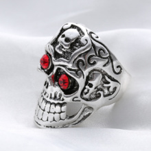 Gothic Rocker Skull Biker Ring With Red Eyes & Skull Forehead