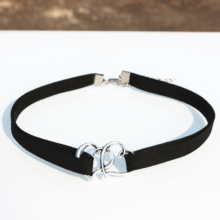 Goth Multi layer Velvet Choker Necklace With Double Heart Pendant