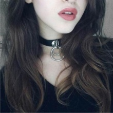 Goth Rivet Leather Choker Necklace With Round Metal Pendants
