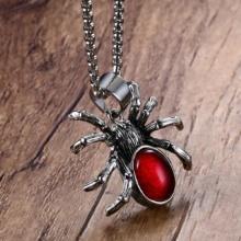 Black Widow Spider Gothic Red Stone Pendant